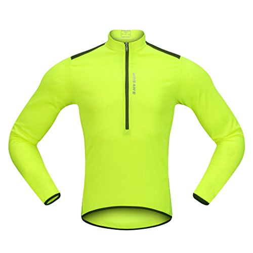 dailymall Jersey de Ciclismo Bicicleta Ciclismo Manga Larga Jersey Chaqueta Camisas Cómodas Tops Camiseta para Hombres Mujeres Verano Deportes Al Aire Libre - Fluo Verde, XXXL