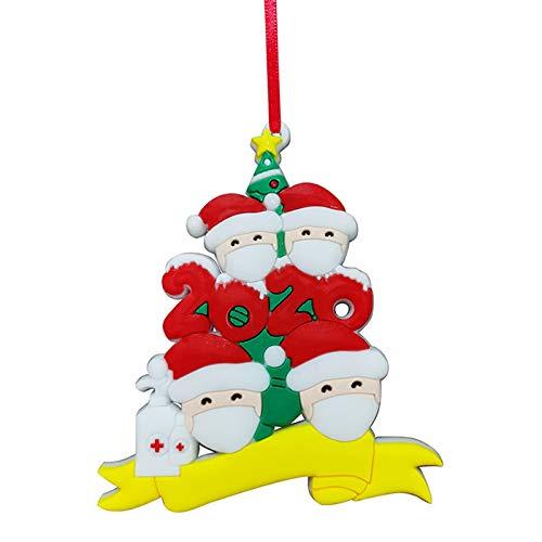WT-DDJJK Decoración navideña, 2020 Quarantine Survivor Family Personalizada 2-5 Papá Noel para Colgar el árbol de Navidad, Black Friday Sales 2020