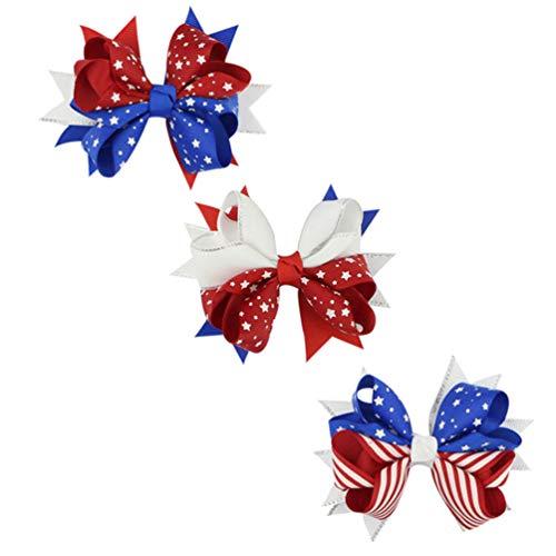 Amosfun 3 peças de clipes de cabelo patrióticos com a bandeira americana dos EUA, 4 de julho, acessórios de cabelo, acessórios de cabine fotográfica, presentes para o dia da independência