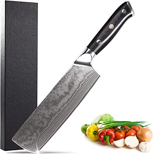 Cuchillo de Cocina Nakiri 16,5cm Cuchillo Damasco Japones Mango Ergonómico G10