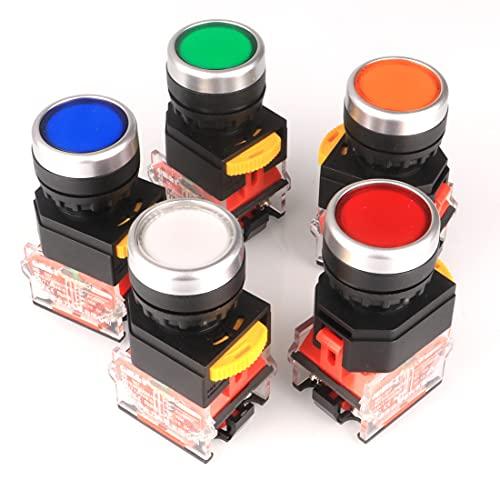 GUUZI 5 Piezas 22mm Montaje en Panel 10A 440V 1NO 1NC DPST Rojo/Verde/Naranja/Azul/Blanco Interruptor de Botón Pulsador Momentáneo Interruptores de Botón