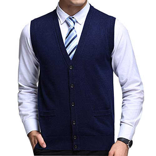 Flygo Men's Basic Solid V-Neck Wool Sweater Vest Knitwear with Button Front Pockets (Large, Navy)