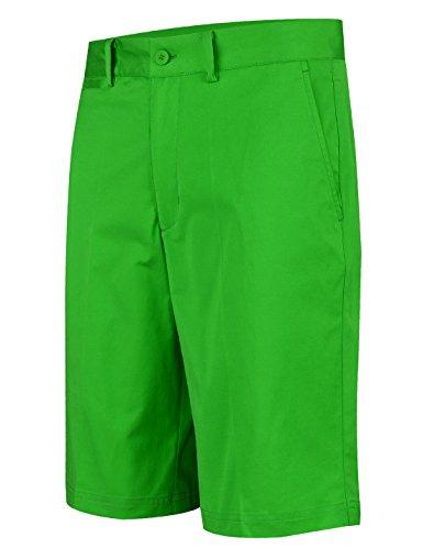 Lesmart Herren Golf Shorts Chino Sommer Hose Kurz für Männer Cool Solid Baumwolle Größe 46\'\'Taille 118cm Grün