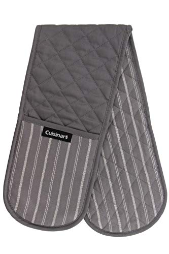 Cuisinart Quilted Double Oven Mitt, Twill Stripe, 7.5 x 35 inches - Heat Resistant Oven Gloves to Protect Hands and Arms - Great Set for Cooking, Baking, and Handling Hot Pots and Pans- Titanium Grey