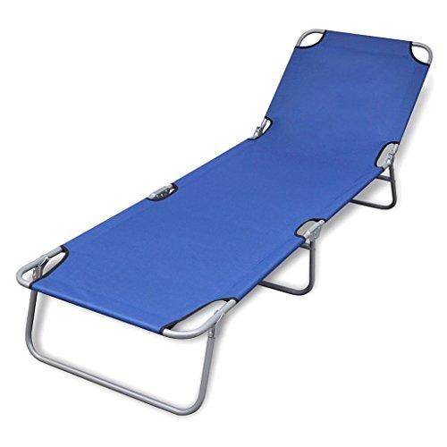 vidaXL Bain de Soleil Bleu Pliable avec Dossier Ajustable Chaise Longue de Jardin