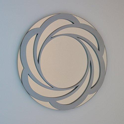 DECOHOGAR.SHOP Miroir Mural Rond - Grande Fleur - 80 x 80 cm - Laqué argenté