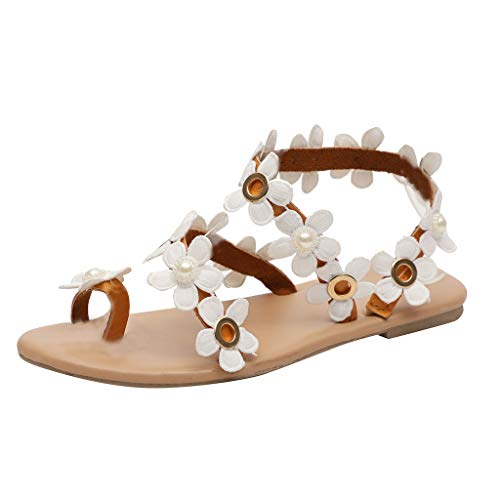 Find Discount Nacome Heels Flat Wedge Sandals Slippers for Women Bohemia Sandals Flower Decoration S...