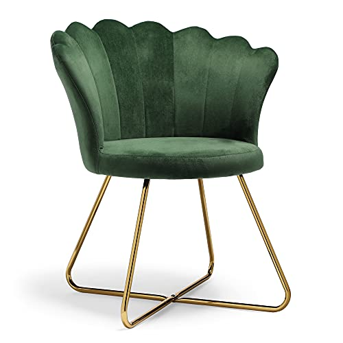 BTFY Green Velvet Chair – Accent Chair With Scallop Shell Petal Back & Gold Metal Legs – Seat for Bedroom, Dressing Table, Dining & Living Room, Home Office – Art Deco Vintage Style