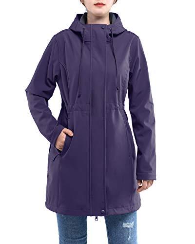 33,000ft Women's Windproof Softshell Long Jacket Hood Fleece Lined Warm up Waterproof Windbreaker Purple