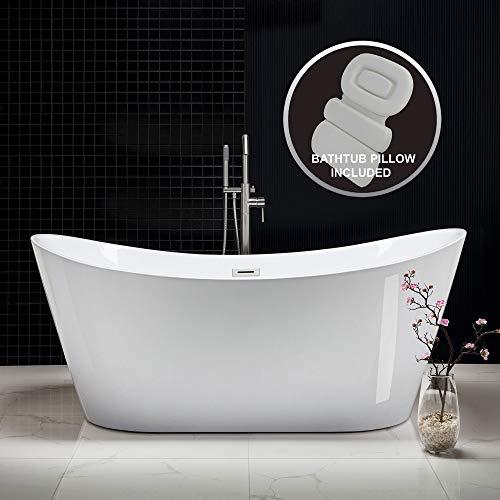 Woodbridge B-0017-B/N-Drain &O Acrylic Freestanding Bathtub Contemporary Soaking Tub with Brushed Nickel Overflow and Drain BTA1517B/N,with Spa Bath, 71