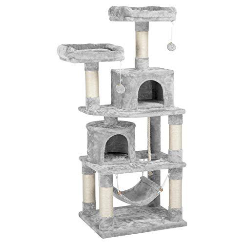 Yaheetech Árboles para Gatos Rascador Juego para Mascota Casa de Gatos Sisal Plataformas Altura 145 cm Gris Claro