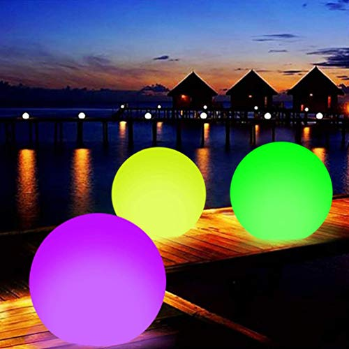 BESPORTBLE Floating Inflatable LED Glow in The Dark Beach Ball Toy Glowing Pool Ball Light Up Beach Ball with Remote for Beach Pool Party Outdoor Games Yard Decorations 2pcs
