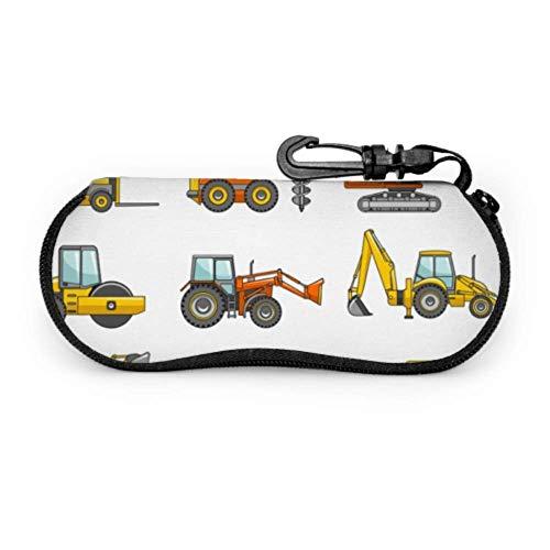 JEOLVP Gabelstapler, Kran, Bagger, Traktor, Bulldozer, LKW Benutzerdefinierte Sonnenbrillenetui Kid Sonnenbrillenetui Leichter tragbarer Neopren-Reißverschluss Weicher Koffer Moderner Brillenetui