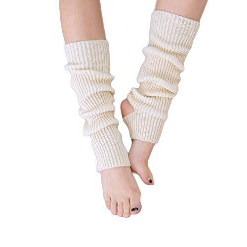 AWOCAN Calentadores de piernas de punto para mujer, extra suaves sobre la rodilla, sin pies, para yoga, ballet, danza