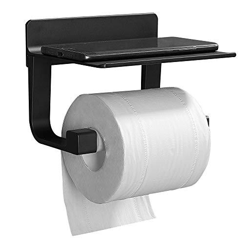 GERUIKE Porta rotolo Carta Igienica Montaggio a Parete Toilette Porta Carta Antiruggine Portarotolo WC Porta cellulare Senza Foratura Autoadesivo Accessori da bagno Alluminio Nero