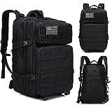 DADZSD 45L Mochila Militar para Hombre/Mujer Tactical Crossfit Gym Bag Fitness Impermeable Molle Bug out Bag Mochila de Trekking de Senderismo al Aire Libre-Negro_China
