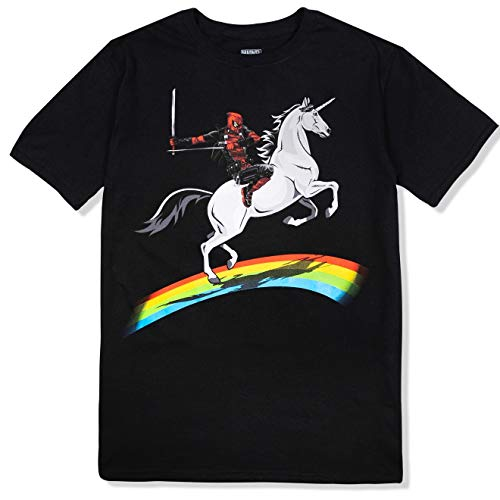 Marvel Unisex-Erwachsene Deadpool Riding A Unicorn On A Rainbow T-Shirt, schwarz, Groß