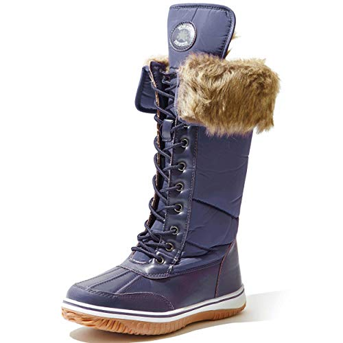 DailyShoes Women Snow Boots Good Traction Waterproof Winter Tall Warm Faux Fur Fashion Comfortable Light Outdoor Cute Elegant Comfort Rubber Navy Blue,13