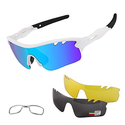 BangLong Gafas Ciclismo CE Certificación Polarizadas con 5 Lentes Intercambiables UV 400 Gafas, para Moto MTB Bicicleta Montaña Correr Pescar Esquiar TR-90