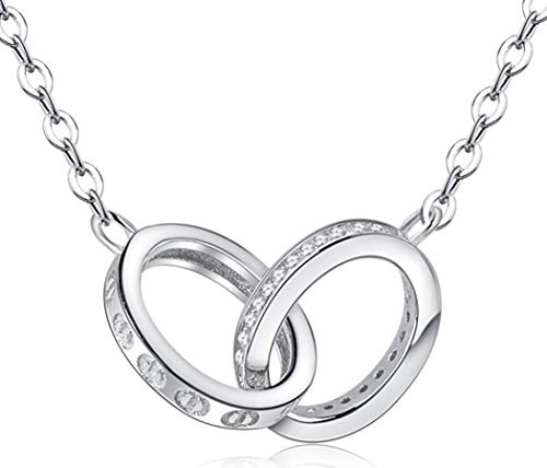 CooJew Interlocking Circle Necklace 925 Sterling Silver for Women,CZ Generations Necklace for Grandma Mom Daughters Valentines Day Birthday