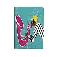 ジャズ音楽の装飾 可愛い 2020新型 iPad Air4 10.9 ケース 音の波を持つサックス奏者の現代イラスト無料あなたの魂グランジ家の装飾 お洒落 薄型 軽量 おしゃれ 人気 手帳型ケ マルチ