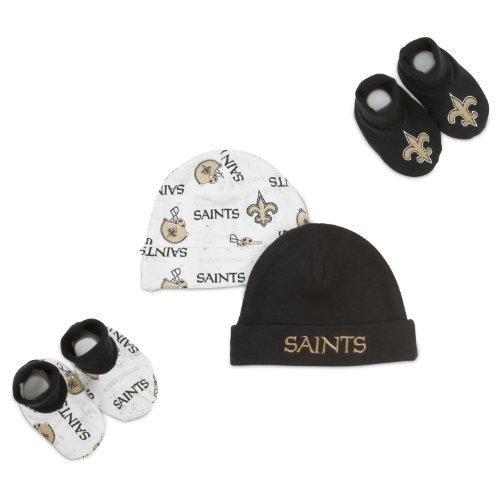 NFL New Orleans Saints Infant Clothing Set, 4-Piece, 2 Caps & 2 Booties, 0-6 Months