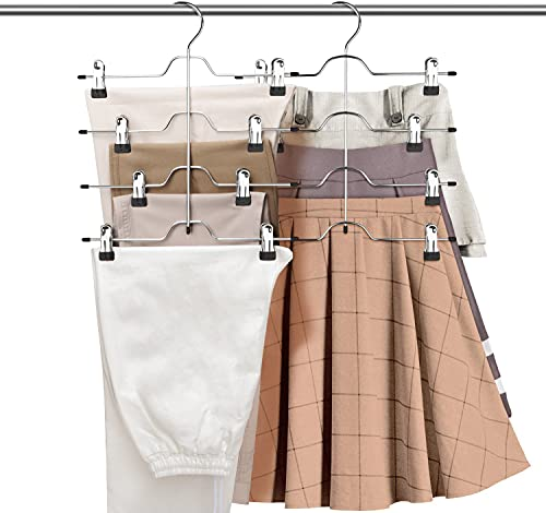 ZriEy Perchas Pinzas, Inoxidable Perchas Pantalones de Metal, Múltiple Abrazadera para Faldas Pantalones, Faldas Antideslizantes de Acero Inoxidable de Metal 2 pcs