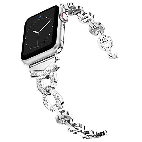 Wealizer für Apple Watch 38mm Armband 42mm Metall Kreis Strass Design Strap Ersatzband für iWatch/Apple Watch Serie 4 Serie 3 Serie 2 Serie 1-38mm 40mm Silber
