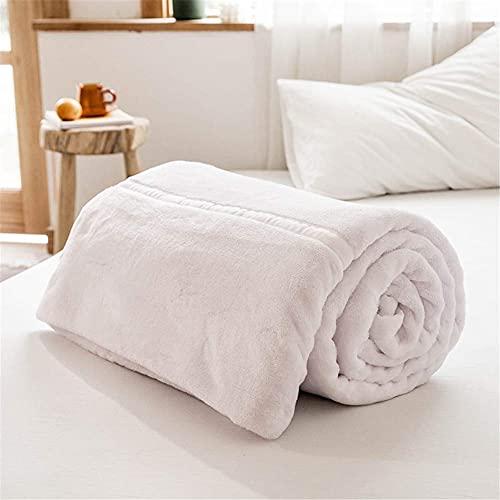 Flanell kastar filt, lyxig supermjuk varm tjock filt för hemsäng soffa resande filtar överkast täcken, vit, 180200CM