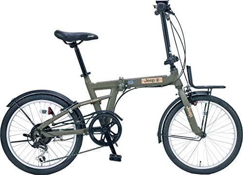 2021年JEEP折りたたみ自転車JE-206G(OLIVE,バスケット付)