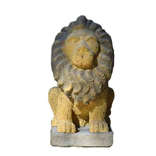 FGDSA Estatua De León De Jardín, El Rey De Las Bestias De León Retro Sentado En La Escultura De León, Ventana De Jardín, Decoración Creativa En Mal Estado