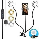 Selfie Ringlicht 2 Ringleuchte mit Fernbedienung HeertTOGO LED-Ringlicht Set Tischringlicht mit 3 Farbe und 10 Helligkeitsstufen Dimmbar Handy-Halterung für Live Stream Make-up Selfie Nachtlesung usw.