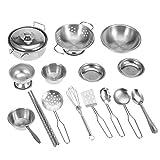 Zerodis Kinder Küche Kochgeschirr Spielzeug Küche Spielzeug Edelstahl Kochgeschirr Kochgeschirr Pan Spielzeug Set für Kinder Jungen und Mädchen(16 Stück)