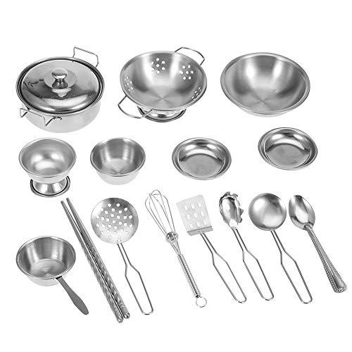 AYNEFY Kinderküche Küchenspielzeug Set,Spielküche Spielzeug Küchenspielzeug Edelstahl Kochgeschirr Kochutensilien Pfannenspielzeug Set für Kinder(18 Stück)
