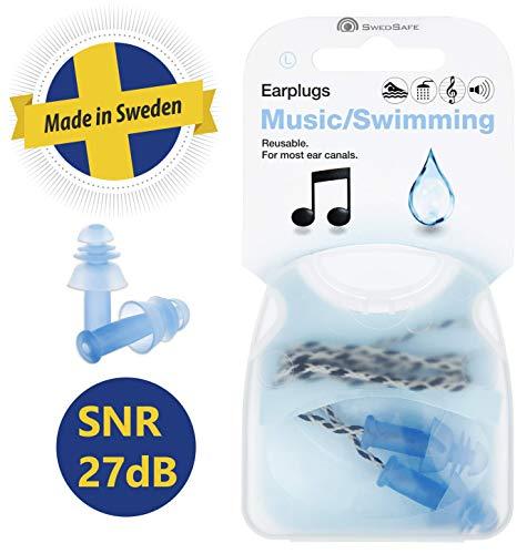 Swedsafe Gehörschutz Ohrstöpsel für Musik und Schwimmen 24dB - Motorsport Gehörschutzstöpsel mit Kordel und Aufbewahrungsbox S/M