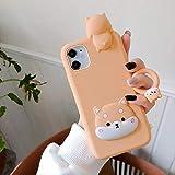 3D Mignon Dessin animé Shiba Inu Chien Chiot étui de téléphone pour iPhone 12 Mini 11 Pro XS Max X XR Couverture arrière en Silicone Souple avec Anneau pour iPhone 6 6S Plus Chien