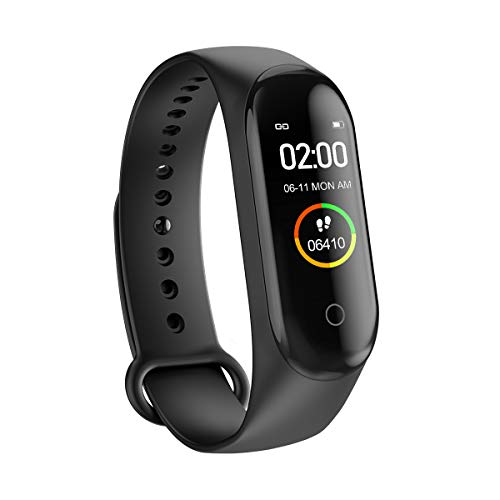 ZUHANGMENG M4 Smart Watch, Smartband-Armband, Blutdruck, wasserdichter Sport-Tracker, Pulsmesser, Schrittzähler-Sportarmband, Fitnessarmband für iOS und Android