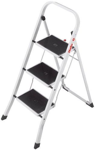 Hailo K20 Stahl-Klapptritt-Leiter | 3 breite Stahl-Stufen mit Anti-Rutsch-Matten belastbar bis 150 kg | Trittleiter mit Klappsicherung | geriffelter ganzflächig aufstehender Steckfuß | weiß