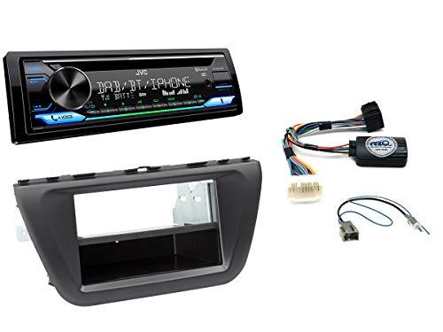 Autoradio Einbauset geeignet für Suzuki SX4 S-Cross inkl. JVC KD-DB912BT (DAB+) & Lenkrad Fernbedienung Adapter in Schwarz