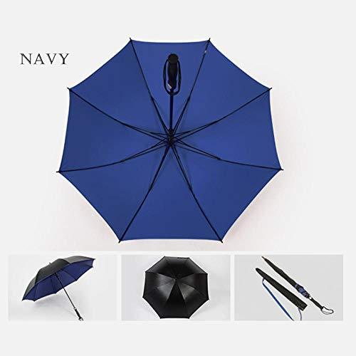 Sonnenschirm Regenschirm Golfschirm Stark Winddicht Halbautomatischer Langer Regenschirm Kreativer Großer Outdoor-Business-Regenschirm Für Männer Und Frauen Navy