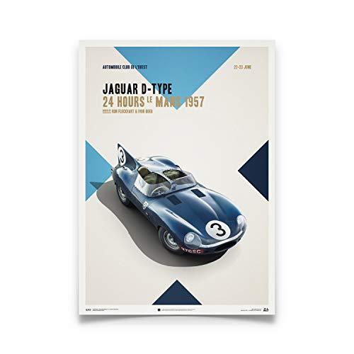 Automobilist | Jaguar D Type - Blau - 24h Le Mans - 1957 - Plakat | Standard Poster Größe