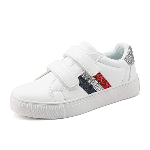 DREAM PAIRS Boys Girls Hook and Loop School Loafers Sneakers Shoes White Size 10 Toddler HL19007K