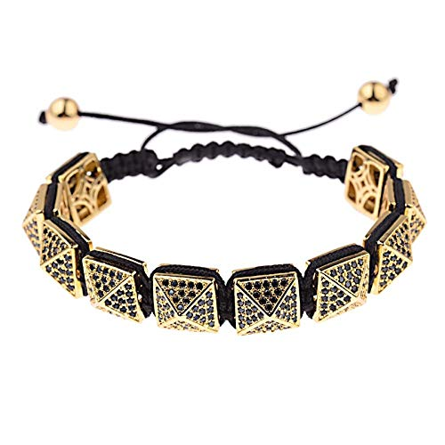 Pulsera Pulseras De Circón Hombres Joyería Geométrica Cubic Micro Pave Charm Beads Pulsera Trenzada Oro