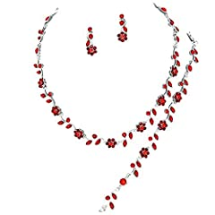 """Elegant Entire Look 3 Piece Set with sexy red crystal Flowers Silver chain necklace earrings and Bracelet set Necklace Length: 14"""" + 3"""" extension chain, Drop size: 3/8"""", Post Pierced earrings: 1"""" drop, Bracelet length:7"""" long Sparkling set for any oc..."""
