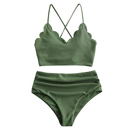 ZAFUL Damen High Waisted Lace Up Tankini Bikini Set Grün M