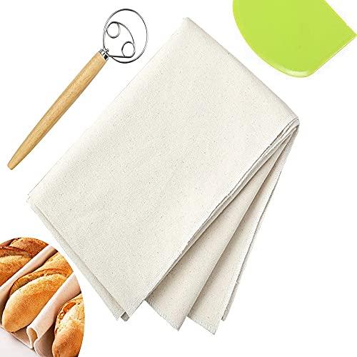 EMAGEREN Tela Lino Panaderia Paño de Lino Panaderia Antiadherente Tela Fermentada Natural con Batidor de Masa de Pan y Raspador de Masa Herramientas para Hornear Pasteles de Pan y Pizza Casero