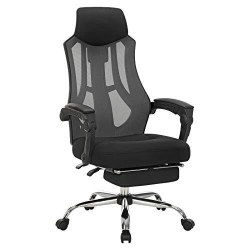 SONGMICS Bürostuhl aus Netzstoff, ergonomischer Drehstuhl mit höhenverstellbarer Kopfstütze und Fußstütze, neigbare Rückenlehne bis 135°, schwarz und dunkelgrau OBN056B02