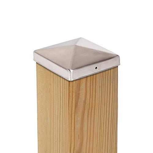 haebelholz 10 Stück Pfostenkappe Edelstahl 101x101 mm Pyramide