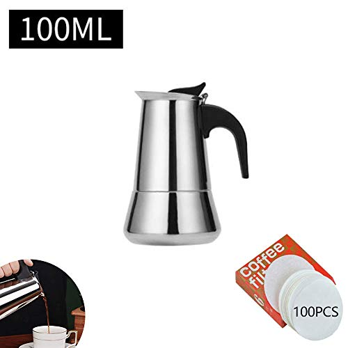 YSISLY Stovetop Espresso Maker, 2-12 Cup Stainless Steel Percolator Italian Coffee Maker Induction Cooker Suitable (B 100ML)