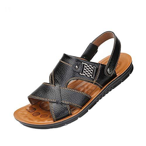 Männer Split Leder Peep Toe Flache Sandalen Flip Flops Dual Use Anti Slip Weiche Freizeitschuhe Hausschuhe Sommer Tauchen Sonne Bad Strand Schuhe